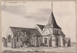 N[orth-west] view of part of Pevensey church in Sussex